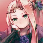 1girl blue_rose chin_rest closed_mouth commentary_request diadem flower green_eyes hair_flower hair_ornament half-closed_eye kid_icarus kid_icarus_uprising long_hair long_sleeves looking_at_viewer nachure one_side_up pink_background purple_robe reiesu_(reis) robe rose signature solo