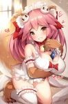 1girl :3 animal_ears apron bell bell_collar blush breast_hold breasts cisyo cleavage collar fangs fangs_out fate/grand_order fate_(series) fox_ears fox_tail hair_ribbon heart large_breasts long_hair looking_at_viewer maid_headdress naked_apron paws pink_hair ribbon solo tail tamamo_(fate)_(all) tamamo_cat_(fate) yellow_eyes