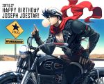 1boy battle_tendency black_hair cap character_name chewing_gum fingerless_gloves gloves goggles goggles_on_headwear ground_vehicle jacket jojo_no_kimyou_na_bouken joseph_joestar_(young) kuren leather leather_jacket male_focus motor_vehicle motorcycle red_scarf scarf sign solo