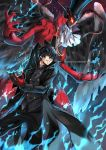 10s 1boy arsene_(persona_5) artist_name black_cape black_eyes black_hair black_hat black_pants black_shirt cape feathered_wings gloves grin hair_between_eyes hat holding holding_mask kurusu_akira mask pants persona persona_5 red_gloves shirt smile standing ten-chan_(eternal_s) water wings