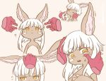 1girl :< animal_ears cheek_squash fangs floating_hand flying_sweatdrops furry made_in_abyss nanachi_(made_in_abyss) one_eye_closed petting simple_background solo_focus whiskers white_hair yama_gan yellow_eyes