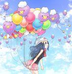 balloon beanie blue_eyes blue_hair blue_sky clouds drifblim drifloon hair_ornament hat hikari_(pokemon) kazuru_wa long_hair open_mouth pokemon pokemon_(game) pokemon_dppt scarf skirt sky