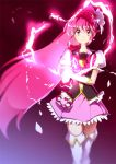 1girl angry boots bow cure_lovely hair_ornament hand_on_arm happinesscharge_precure! heart_hair_ornament long_hair looking_at_viewer magical_girl pink_bow pink_eyes pink_hair pink_skirt ponytail precure puffy_short_sleeves puffy_sleeves short_sleeves skirt solo thigh-highs thigh_boots white_boots wide_ponytail yuto_(dialique) zettai_ryouiki