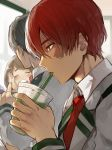 1girl 2boys blue_hair blush boku_no_hero_academia brown_hair closed_eyes drink drinking drinking_cup drinking_straw from_side glasses green_eyes half-closed_eyes multicolored_hair multiple_boys necktie open_mouth red_necktie redhead round_teeth school_uniform sideburns teeth todoroki_shouto two_side_up uraraka_ochako white_hair yukibi_(ykb)