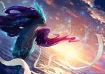 aura closed_mouth clouds cloudy_sky commentary_request light_particles looking_to_the_side no_humans ocean pokemon pokemon_(creature) realistic signature sky solo suicune sun sunlight sunset teru_sakura