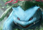 fangs looking_at_viewer nature no_humans parted_lips plant pokemon pokemon_(creature) realistic red_eyes slit_pupils solo sunlight teru_sakura venusaur