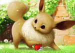 :3 blurry blurry_background brick_wall closed_mouth commentary_request day depth_of_field eevee flower grass no_humans outdoors playing poke_ball pokemon pokemon_(creature) realistic solo teru_sakura