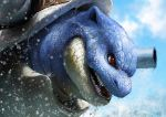 blastoise blue_sky cannon clouds day fangs no_humans pokemon pokemon_(creature) realistic red_eyes scales sky solo teru_sakura water wet