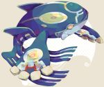 commentary_request floating from_side full_body grey_background hideko_(l33l3b) looking_at_viewer no_humans pink_eyes pokemon pokemon_(creature) polka_dot polka_dot_background primal_kyogre profile solo