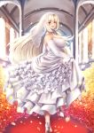 1girl :d arch bare_shoulders blonde_hair blush breasts bridal_gauntlets bridal_veil bride dress flower frilled_dress frills high_heels indoors kuchibue_(tanima_club) large_breasts looking_at_viewer looking_back open_mouth red_carpet silver_shoes skirt_hold smile solo standing twisted_torso veil white_dress