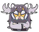 antlers bkub commentary crossed_arms kemono_friends long_hair looking_at_viewer moose_(kemono_friends) moose_ears simple_background wrestling_mask