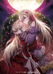 2girls blonde_hair blue_eyes detached_sleeves dress floral_arch flower full_moon gem hair_flower hair_ornament hairband hand_up holding_head long_hair looking_at_viewer moon multiple_girls mura_karuki night night_sky official_art outdoors red_dress sky standing very_long_hair watermark white_dress