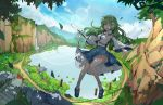 1girl ;d armpit_peek bangs blue_footwear blue_skirt blue_sky breasts bridge cliff commentary_request dappled_sunlight day detached_sleeves falling_leaves flower flying frog_hair_ornament full_body gohei green_eyes green_hair hair_ornament hair_tubes highres holding kochiya_sanae lake leaf leidami lens_flare lily_pad long_hair long_skirt looking_at_viewer mary_janes medium_breasts moss mountain mountainous_horizon nature navel nontraditional_miko onbashira one_eye_closed open_mouth outdoors outstretched_arm outstretched_hand path plant print_skirt road rock scenery shirt shoes sign skirt sky sleeveless sleeveless_shirt smile snake_hair_ornament socks solo stairs statue stone_stairs sunlight torii touhou tree tree_shade vines water waterfall white_flower white_legwear white_shirt wide_sleeves wind wooden_bridge