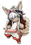 1girl :3 animal_ears check_commentary commentary commentary_request donoteat ears_through_headwear fang fur furry helmet made_in_abyss nanachi_(made_in_abyss) open_mouth pants solo tail whiskers white_background white_hair yellow_eyes