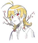 1boy ahoge amanekuu bangs blonde_hair braid branch cherry_blossoms collared_shirt eyebrows_visible_through_hair hair_between_eyes hair_ribbon highres long_hair looking_at_viewer male_focus parted_lips partially_colored red_eyes ribbon shirt simple_background sketch solo traditional_media tress_ribbon white_background white_shirt wide-eyed