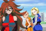 1boy 2girls android_18 android_21 annoyed arm_warmers ass bald bare_shoulders big_hair blonde_hair blue_eyes blue_vest blurry breasts brown_belt brown_hair cropped_jacket curly_hair depth_of_field detached_sleeves dougi dragon_ball dragon_ball_fighterz dragonball_z earrings glasses guido_(sucurapu) highres hips hoop_earrings husband_and_wife jealous jewelry kuririn long_hair looking_back meme multicolored_clothes multicolored_dress multiple_girls pantyhose parody skirt striped_sleeves sweatdrop torn_clothes torn_sleeves wristband