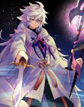 1boy cape fate/grand_order fate_(series) long_hair makita_(homosapiensu) male_focus merlin_(fate/stay_night) smile solo spiky_hair staff sword violet_eyes weapon white_hair