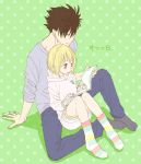 1boy 1girl bangs black_hair blonde_hair blush brown_eyes dress eyebrows_visible_through_hair flat_color grey_shirt haikyuu!! hood hoodie kuroo_tetsurou lap_pillow legs_together long_sleeves namo open_mouth pants polka_dot polka_dot_background shirt sidelocks smile socks spiky_hair striped striped_legwear sweater sweater_dress yachi_hitoka