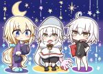3girls absurdres animal_slippers bell bell_collar bloomers blue_eyes body_pillow bunny_slippers cape collar crescent_moon eyebrows_visible_through_hair fate/apocrypha fate/grand_order fate_(series) hand_on_hip hat highres jako_(jakoo21) jeanne_alter jeanne_alter_(santa_lily)_(fate) jeanne_d'arc long_hair moon multiple_girls multiple_persona nightcap open_mouth pajamas platinum_blonde ruler_(fate/apocrypha) scrunchie shirt short_hair star stuffed_animal stuffed_toy t-shirt translation_request underwear very_long_hair yellow_eyes