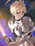 1boy armor blonde_hair breastplate excalibur_(fate/prototype) fate/grand_order fate/prototype fate/prototype:_fragments_of_blue_and_silver fate_(series) faulds gauntlets greaves green_eyes highres hood pauldrons saber_(fate/prototype) solo sword weapon yang-do