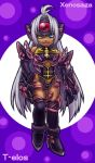1girl :d ahoge bangs bare_shoulders black_gloves black_legwear black_leotard black_neckwear blue_eyes breasts character_name chibi cleavage cleavage_cutout copyright_name cyborg dark_skin elbow_gloves eyebrows_visible_through_hair facing_viewer full_body gloves hair_between_eyes hair_intakes halterneck hand_on_hip headgear high_heels leg_up leotard long_hair looking_at_viewer lowres medium_breasts multicolored multicolored_background open_mouth over-kneehighs shoes silver_hair silver_shoes smile solo standing standing_on_one_leg t-elos thigh-highs thigh_strap under_boob uneven_eyes very_long_hair xenosaga xenosaga_episode_iii zohar0330