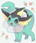 :3 :d blush fangs floral_background full_body grey_background grey_eyes hideko_(l33l3b) highres looking_at_viewer no_humans open_mouth pokemon pokemon_(creature) smile solo standing vaporeon
