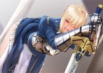 1girl ahoge armor artoria_pendragon_(all) bent_over blonde_hair blush braid breastplate dress dress_lift excalibur fate/stay_night fate_(series) gauntlets green_eyes hetero long_sword nanahime_(aoi) one_eye_closed open_mouth panties panty_pull planted_sword planted_weapon saber sidelocks solo sword tears underwear weapon white_panties