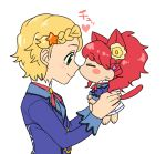 2girls aikatsu! animal_ears carrying cat_ears cat_tail chibi kiss koyama_shigeru kurebayashi_juri multiple_girls nose_kiss shinjou_hinaki tail