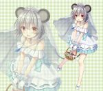 1girl :d alternate_costume animal_ears bangs bare_legs basket blue_bow blush bow brown_eyes commentary_request dress eyebrows_visible_through_hair flower gloves grey_hair hair_between_eyes holding holding_basket jewelry long_hair looking_at_viewer mouse mouse_ears nagisa3710 nazrin necklace open_mouth plaid plaid_background rose shoe_bow shoes short_hair smile standing tiara touhou veil white_gloves white_shoes zoom_layer