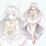 1girl alternate_costume animal_ears bangs bare_shoulders blush bouquet breasts chitetan cleavage closed_mouth commentary_request dress elbow_gloves eyebrows_visible_through_hair flower gloves holding holding_bouquet inubashiri_momiji jewelry looking_at_viewer medium_breasts pendant pink_shoes red_eyes ring shoes short_hair smile standing tail thigh-highs thigh_gap tiara touhou wedding_band wedding_dress white_gloves white_hair white_legwear wolf_ears wolf_tail zettai_ryouiki zoom_layer