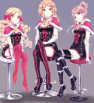 3girls belt black_footwear black_legwear blonde_hair boots bow breasts brown_eyes brown_hair capelet character_request cross-laced_footwear garter_straps gloves hair_bow hair_bun hand_in_lap high_heel_boots high_heels highres idolmaster idolmaster_million_live! idolmaster_million_live!_theater_days legs_crossed long_hair looking_at_viewer medium_breasts mogemoge00 multiple_girls pink_boots pink_bow pink_legwear sitting small_breasts smile stool thigh-highs thigh_boots white_gloves