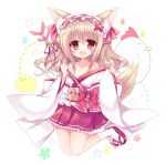 1girl :d animal_ears arrow bell bird blush bow chicken collarbone commentary_request fox_ears fox_girl fox_tail frilled_hairband frilled_skirt frills full_body hamaya japanese_clothes jingle_bell light_brown_hair long_hair long_sleeves looking_at_viewer miko obi off_shoulder open_mouth original pink_skirt pleated_skirt red_bow red_eyes red_ribbon ribbon sash shikito sidelocks skirt sleeves_past_wrists smile solo sparkle star starry_background tabi tail tareme white_background white_legwear wide_sleeves zouri