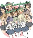 6+girls anchovy anzio_school_uniform arm_around_shoulder bangs belt beret black_belt black_eyes black_hair black_hat black_neckwear black_skirt blonde_hair blunt_bangs braid brown_eyes carpaccio closed_mouth commentary_request cropped_legs dress_shirt drill_hair emblem extra eyebrows_visible_through_hair forehead girls_und_panzer glasses green_hair grin hat highres italian long_hair long_sleeves looking_at_another looking_at_viewer miniskirt multiple_girls necktie one_eye_closed one_side_up open_mouth pantyhose party_popper pepperoni_(girls_und_panzer) pleated_skirt red_eyes school_uniform shirt short_hair side-by-side side_braid siko_(girls_und_panzer) skirt smile smirk translated twin_drills twintails w_arms wabiushi white_legwear white_shirt