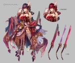 1girl alternate_hair_length alternate_hairstyle bare_shoulders bow breasts caravan_stories character_name character_sheet detached_collar hair_ornament highres holding holding_sword holding_weapon japanese_clothes katana kimono large_breasts long_hair looking_at_viewer misakura_julio original outstretched_arm pink_bow pink_eyes platform_footwear purple_hair red_eyes redhead rope shimenawa side_drill side_ponytail signo_aaa solo standing sword thigh-highs weapon wide_sleeves