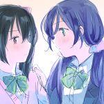 2girls :3 bad_id black_hair love_live! love_live!_school_idol_project matsuri_(artist) multiple_girls purple_hair toujou_nozomi yazawa_nico yuri