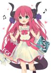 10s 1girl bag bangs bare_arms bare_shoulders beamed_semiquavers blue_eyes bow claws collarbone commentary_request copyright_name dragon_horns dress eyebrows_visible_through_hair fang fate/extra fate/extra_ccc fate/grand_order fate_(series) hair_ribbon heart highres holding_bag horns kirarin369 lancer_(fate/extra_ccc) long_hair looking_at_viewer musical_note one_leg_raised open_mouth pink_bow pink_hair pointy_ears quaver ribbon shoes shopping_bag simple_background sleeveless sleeveless_dress solo tail tail_bow tattoo white_background white_bow white_dress