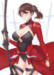 1girl archer archer_(cosplay) breasts brown_eyes brown_hair cleavage cosplay covered_navel curvy fate_(series) franham highres kaga_(kantai_collection) kantai_collection large_breasts side_ponytail solo standing wide_hips