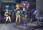 3girls armor asymmetrical_clothes backwards_hat blonde_hair boots braid cap centaur clothes_around_waist computer dressing elbow_gloves fingerless_gloves gloves ground_vehicle hat highres horn impossible_clothes jacket_around_waist lavender_eyes lavender_hair mecha_musume midriff motor_vehicle multiple_girls navel original pink_eyes pink_hair ponytail shorts single_braid sitting spotlight tank_top thigh-highs truck workshop yellow_eyes yin_gren