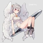 1girl angel angel_chromosome_xx black_legwear floating grey_background grey_hair ikeuchi_tanuma multiple_wings neon_genesis_evangelion no_pants panties red_eyes seraph shirt shoes simple_background sneakers socks tabris tabris-xx twintails twitter_username underwear wings