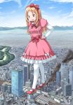 1girl blonde_hair bow brown_eyes building city clouds day destruction drill_hair eromanga_sensei giantess hair_bow hands_on_hips highres long_hair pantyhose pointy_ears red_bow sky smile solo terada_ochiko twin_drills white_legwear yamada_elf