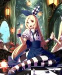 1girl alice_(wonderland) alice_in_wonderland blonde_hair cat checkered checkered_floor chess_piece cracked_glass different_reflection enmr39_(anonyma) forest hair_ribbon high-waist_skirt highres lantern long_hair looking_to_the_side mirror mushroom nature open_mouth original outdoors pantyhose puffy_short_sleeves puffy_sleeves red_eyes reflection ribbon shingoku_no_valhalla_gate short_sleeves sitting skirt smile solo striped striped_legwear very_long_hair wrist_cuffs yokozuwari