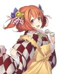 1girl :d apron bangs bell blue_bow bow checkered checkered_kimono eyebrows_visible_through_hair fangs flower frills glasses hagihara_asami hair_bell hair_bow hair_flower hair_ornament holding holding_glasses japanese_clothes jingle_bell kimono long_sleeves looking_at_viewer motoori_kosuzu open_mouth redhead round_glasses short_hair simple_background smile solo touhou two_side_up violet_eyes white_background wide_sleeves yellow_apron