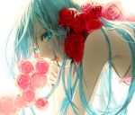1girl alternate_hairstyle armpits bare_shoulders blue_eyes blue_hair close-up crying crying_with_eyes_open expressionless eyelashes face flower g.g.lemon hands_together hatsune_miku long_hair looking_away pink_flower pink_rose red_flower red_rose rose shaded_face simple_background solo_focus tears upper_body vocaloid white_background