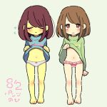2girls brown_hair chara_(undertale) closed_eyes covered_navel dated flying_sweatdrops frisk_(undertale) full_body highres multiple_girls no_pants open_mouth panties pantsu_no_hi pink_panties red_eyes shirt_lift spoilers sweater turtleneck turtleneck_sweater undertale underwear white_panties yellow_skin