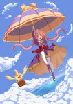 1girl animal bird ccarrot commentary_request flying highres long_hair ocean original pink_hair sky solo twintails umbrella yellow_eyes