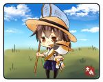 10s 1girl black_legwear blue_skirt blue_sky brown_eyes brown_hair butterfly_net chibi clouds commentary_request grass hakama_skirt hand_net hat highres insect_cage japanese_clothes kaga_(kantai_collection) kantai_collection outdoors short_hair shoulder_strap side_ponytail skirt sky solo straw_hat stuffed_animal stuffed_cat stuffed_toy sun_hat taisa_(kari) tasuki