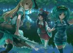 5girls :t apron aqua_eyes black_hair black_legwear blonde_hair blue_eyes blue_hair blue_legwear bow breasts broom broom_riding camouflage camouflage_shirt camouflage_shorts day detached_sleeves eno_(whiskeyne) forest green_hat hair_bobbles hair_bow hair_ornament hair_tubes hakurei_reimu hand_holding hat kawashiro_nitori kirisame_marisa leaf lily_pad long_hair looking_at_another looking_at_viewer looking_back medium_breasts moriya_suwako multiple_girls nature outdoors parted_lips partially_submerged pout puffy_short_sleeves puffy_sleeves red_skirt red_vest river rope shimenawa short_hair short_sleeves shorts skirt sleeves_rolled_up smile striped striped_skirt striped_vest swimming thigh-highs touhou two_side_up vest wading waist_apron white_legwear witch_hat yasaka_kanako yellow_eyes zettai_ryouiki