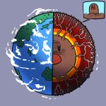 black_eyes close-up clouds cross_section diagram diglett dugtrio earth grey_background island no_humans ocean planet pokemon pokemon_(creature) red_nose roots suparu_(detteiu) what