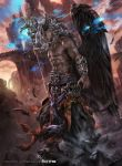 1boy abs barefoot copyright_name dark_skin demon_horns feathered_wings feathers force_of_will grey_eyes grey_hair highres horns long_hair mad_(artist) male_focus navel official_art rock shirtless solo staff wings