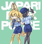 2girls alternate_costume animal_ears aqua_background ass black_gloves black_hair blue_eyes commentary_request female_service_cap gloves hat kaban_(kemono_friends) kemono_friends looking_at_viewer miniskirt multiple_girls necktie pantyhose pencil_skirt pointing pointing_at_viewer police police_hat police_uniform policewoman seki_(red_shine) serval_(kemono_friends) serval_ears serval_print serval_tail short_hair skirt smile tail uniform wavy_hair whistle yellow_eyes